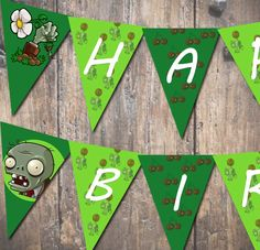 Plants Vs. Zombies Printable Pennant Banner Digital File DIY. $4.00, via Etsy.
