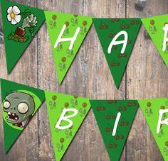 Plants Vs. Zombies Printable Pennant Banner Digital File DIY. $4.00, via Etsy. for davids birthday