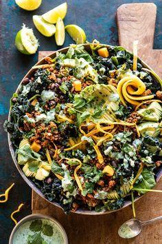 Spicy Turkey Taco Salad with Baja Dressing. Not your average Monday salad –> ch… – Recipes Healthy Junk Food, Healthy Eating, Healthy Recipes, Rib Recipes, Turkey Recipes, Potato Recipes, Taco Salat, Turkey Tacos, Turkey Salad