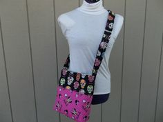 Black Crossbody Bag With Sugar Skulls and Minnie by OMGDesigns