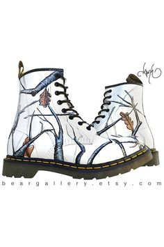 84a76af80 Custom Doc Martens - Hand Painted Winter Camo Timber Bojové Boty, High Top  Sneakers,