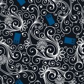 Blue Phone Boxes and White Swirls on Black - risarocksit - Spoonflower:  one of the prettiest Doctor Who fabrics I've seen