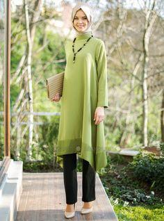 Long Tunic - Green - Tunics - Modanisa