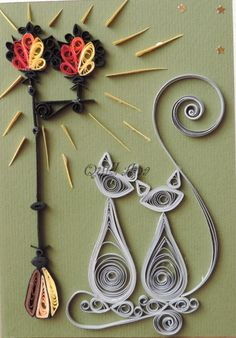 quilled cat with lamp post