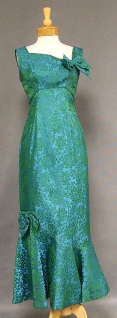Asymmetrical Blue Green Brocade 1960s Evening Gown