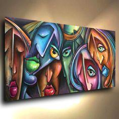 abstract Cubist art original PAINTING MODERN Contemporary DECOR Mix Lang cert. #ArtDeco