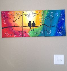 Acrylic painting - Birds in Love