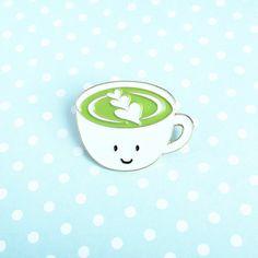 Matcha Latte Enamel Pin  cute cartoon green tea by queeniescards