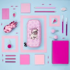 Kids pencil case. Unique, pink pug stationery organiser. Amazing back to school, birthday or Christmas gift. Super roomy, embossed writing essential organiser.
