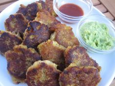 Sweet & Savory Plantain Fritters:  Made a different Guac, but everything together was awesome.  I actually like them better once they've cooled down completely.  Like in the fridge overnight, cooled.
