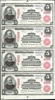 US 5 Dollar Note    Series of 1902 Red Seal     1906 Jun 12    Serial# 574  The First National Bank of Woodbridge 8299     Signatures: Vernon / Treat       Landing of the Pilgrims     Portrait: President Benjamin Harrison