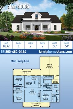 New Modern Style Farmhouse Home Plan has 1832 Sq Ft, 3 Beds, 2 Baths and a 2 Car Carport This modern Farmhouse plan welcomes. Basement House Plans, Ranch House Plans, New House Plans, Small House Plans, House Floor Plans, Floor Plan With Basement, Small Farmhouse Plans, Modern Farmhouse Exterior, Home Plans