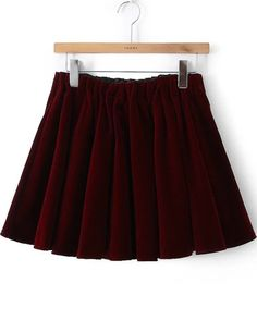 Shop Wine Red Pleated Velvet Skirt online. Sheinside offers Wine Red Pleated Velvet Skirt & more to fit your fashionable needs.