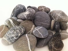 Beautiful Blue-Gray stripy sea pebbles from Lefkas island, craft stones by MrsBeachComber on Etsy