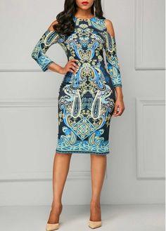 Cold Shoulder Printed Round Neck Dress | liligal.com - USD $33.48