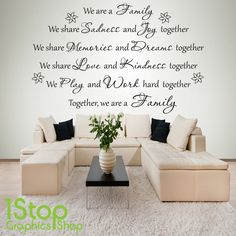 TOGETHER WE ARE FAMILY WALL STICKER QUOTE - BEDROOM HOME WALL ART DECAL X240
