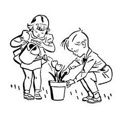 Retro Images - Cute Kids - Gardening - The Graphics Fairy