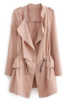 ROMWE | Lapel Selt-tied Elastic Pink Trench Coat, The Latest Street Fashion