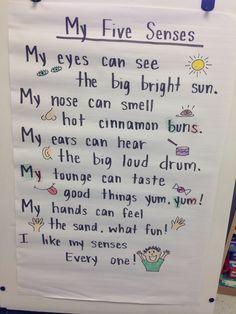 Five Senses Kindergarten, Kindergarten Poetry, Five Senses Preschool, My Five Senses, Preschool Songs, Kindergarten Science, Preschool Lessons, Preschool Classroom, Preschool Learning