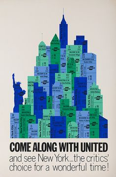 UAL New York vintage travel poster