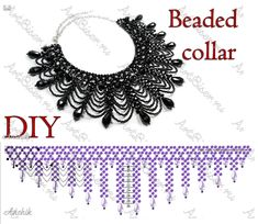 """FREE - Openwork Beaded Collar Pattern by Anna """"Anchik"""" Martynov! Featured in Bead-Patterns.com Newsletter."""