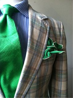 Green, blue gingham and plaid.