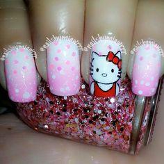 Hello Kitty Nails Tumblr Nail Art, Hello Kitty Nails, Cat Nails, Funky Nails, Fall Nail Art, Nail Polish Colors, Pretty Nails, Girly Things, Nail Art Designs