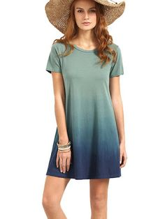 442dcda040 Big deal ROMWE Women s Tunic Swing T-Shirt Dress Short Sleeve Tie Dye Ombre  Dress Multicolor L discover this and many other bargains in Crazy by Deals