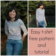 FREE SEWING PATTERN: Easy t-shirt FOR WOMEN: Learn how to make an easy 30 minute t shirt for women. Ideal beginner sewist project.