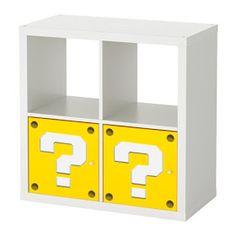 Mario question mark block shelf with printable template for IKEA Kallax storage shelf with doors Gamer Bedroom, Lego Bedroom, Bedroom Themes, Bedroom Designs, Girls Bedroom, Bedroom Ideas, Super Mario Room, Ikea Kallax Shelving, Mario Bros