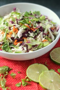 Cilantro Lime Coleslaw Recipe: A super healthy and easy side dish, perfect substitute for heavy rice or beans.