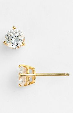 Free shipping and returns on Nordstrom Precious Metal Plated 2ct tw Cubic Zirconia Earrings at Nordstrom.com. Timeless, handcrafted studs feature sparkling cubic-zirconia stones secured by triple-pronged settings.