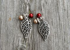 Fall Leaves silver tone earrings nature for her by MontanaMagic