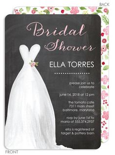Chalkboard Watercolor Dress Bridal Shower Invitations