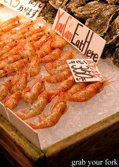 Botan ebi prawns with roe at Omicho Market, Kanazawa, Japan
