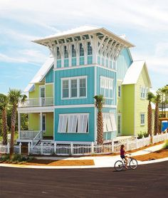 turquoise and lime green beach house. This looks like a really fun place to live.
