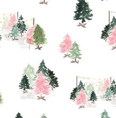 Christmas Wrapping Paper - Mid Century Mod Christmas Trees Holiday Happy New Year Retro Christmas Tree, 1950s Christmas, Christmas Art, Christmas Decorations, Christmas Graphics, Christmas Christmas, Xmas, Illustration Noel, Christmas Illustration