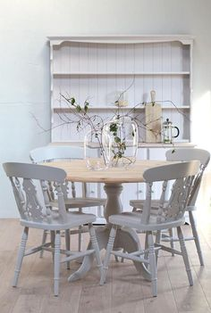 maybe we can just sand it all the way back? Pine Table And Chairs, Pine Dining Table, Dining Table In Kitchen, Dining Table Chairs, Dining Area, Country Kitchen Tables, Painted Kitchen Tables, Rustic Farmhouse Table, Round Dining Table Small