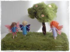 needle felted fairy garden