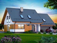 DOM.PL™ - Projekt domu DN Lisandra 2M CE - DOM PC1-60 - gotowy koszt budowy Facade House, Design Case, Little Houses, Modern Farmhouse, Townhouse, Building A House, Architecture Design, House Plans, New Homes