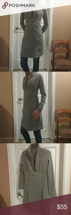 GREY Soft material. High neck, zipper pockets, form fitting. Fits More like a Size Small. sahalie Dresses Midi