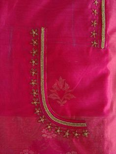 Embroidery for saree blouse Simple Blouse Designs, Saree Blouse Neck Designs, Viria, Maggam Work Designs, Back Neck Designs, Blouse Models, Work Blouse, Indian Designer Wear, Hand Embroidery