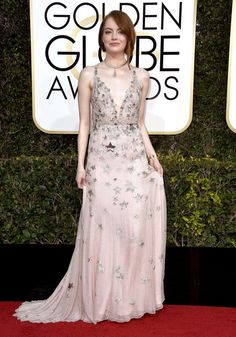 """Emma Stone, nominee for best performance by an actress in a motion picture (musical or comedy) for her role in """"La La Land,"""" wearing Valentino."""