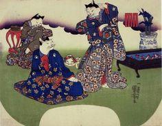 かなりネコだらけ 江戸時代の浮世絵師「歌川国芳」が描いた人情味あふれる団扇絵いろいろ - DNA