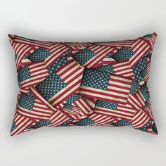 """Patriotic Grunge Style American Flag  Pillow by Gravityx9 at Society6 -  The American Flag with a vintage / grunge feature, layered in a seamless pattern.Our Rectangular Pillow is the ultimate decorative accent to any room. Made from 100% spun polyester poplin fabric, these """"lumbar"""" pillows feature a double-sided print and are finished with a concealed zipper for an ideal contemporary look. Includes faux down insert. Available in small, medium, large and x-large."""