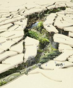"""I can imagine this park in Abu Dhabi or Al Ain maybe. Heatherwick Tapped to Design """"Sunken Oasis"""" in Abu Dhabi Landscape Model, Landscape Architecture Design, Architecture Drawings, Futuristic Architecture, Fantasy Landscape, Urban Landscape, Desert Landscape, Architecture Jobs, Enterprise Architecture"""