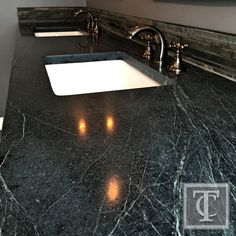 Soapstone Countertops with White Undercount Sinks