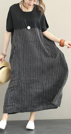 women-black-silk-linen-dress-plus-size-clothing-O-neck-patchwork-silk-linen-gown-Elegant-short-sleeve-pockets-dress