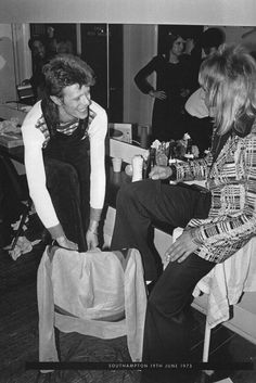 David Bowie and Mick Ronson backstage, 1973.