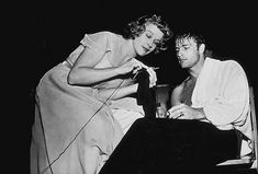 Learning how to knit with Kim Hunter on the set of A Streetcar Named Desire.